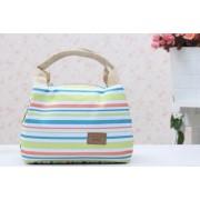 Kis méretű, színes, csíkos hőtartó táska
