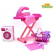 Little Treasures Family Play Toy Set For Preschooler Girls; With Ironing Machine, Iron Board, Laundry Basket, Hangers, Cloth Pegs, 2 Cloth Pieces, Cleaning Detergent And Starch Spray In Pink
