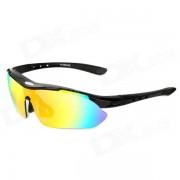 INBIKE 619 Multifuncion Ciclismo Proteccion UV400 gafas de sol de plastico w / reemplazable Set Lens - Negro