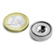 Magnet neodim oala cu gaura ingropata, Fi 20 mm, putere 8,9 kg