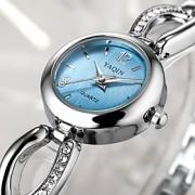 Mulheres Bracele Relógio Quartz Relógio Casual Aço Inoxidável Banda Prata marca