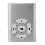 Mini enchufe de 3.5mm con clip de la musica MP3 Player w / TF ranura - plata + blanco