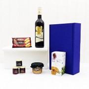Fine Food Store Broadleaf vino rosso e stuzzichini blu regalo