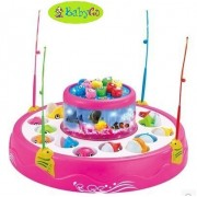 BabyGo Fish Catching Game Big with 26 Fishes and 4 Pods Fishing Game Includes Music and Lights (Pink)