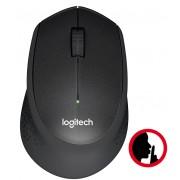 Mouse silent LOGITECH M330 Silent Plus, black, ergonomic