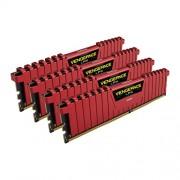 Corsair CMK32GX4M4C3000C15R Vengeance LPX Kit di Memoria RAM da 32 GB, 4x8 GB, DDR4, 3000 MHz, CL15, Rosso