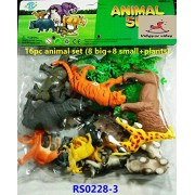 Vibgyor Vibes™ 16 Piece wild animal set with mix of 8 small and 8 medium sized animals along with Jungle trees