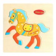 Caballo en forma de rompecabezas de bloques de madera de dibujos animados Toy - amarillo