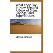 What They Say in New England a Book of Signs, Sayings, and Superstitions by Clifton Johnson