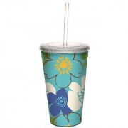 Tree-Free Greetings 80109 Multi Flower Collectible Art Double Wall Cool Cup with Straw 16-Ounce Multicolored