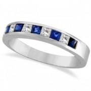 Princess-Cut Channel-Set Diamond & Sapphire Ring Band 14k White Gold