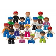 PlayBuild Play Build Community Figures Set – 16 Pieces – Bulk Starter Kit Includes Police Man, Farmer, Fire Fighter, Conductor, Mom, Dad, Grandpa, Kids & More – Compatible with LEGO DUPLO Building Blocks