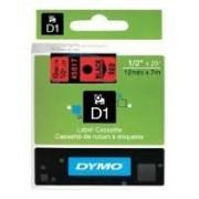 Dymo D1 Label Cassette 12mmx7m (SD45017) - Black on Red