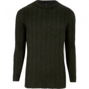 River Island Dark green cable knit muscle fit jumper