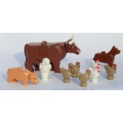 LEGO® City Farm Lot #2 - Brown Cow, Pig, Dog, Owl and Chickens