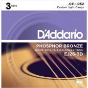 D'Addario - A-Git.Saiten EJ26-3D 11-52 Phosphor Bronze 3er Set