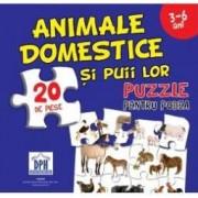 Animale domestice si puii lor. Puzzle pentru podea 3-6 ani