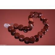 Colier goldstone maro mărgele rotunde si plate 20mm, 45cm