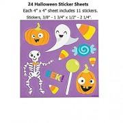 "24 ~ Halloween Sticker Sheets ~ 4"" x 4"" ~ 11 stickers per sheet ~ New"