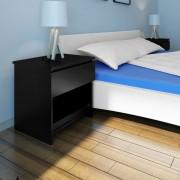 vidaXL Нощно шкафче с едно чекмедже, черно – 2 бр.