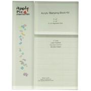 """Apple Pie memorie timbro acrilico blocco impostato 3 pezzi5"""" spessa, 4"""" X 5"""" w/griglia, 3"""" X 4"""", 2"""" X 8"""""""