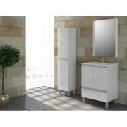 Ensemble de salle de bain TIBET meuble blanc brillant 60 cm sur pieds