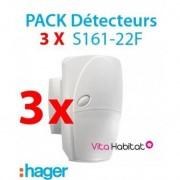 HAGER Pack de 3 détecteurs de mouvements S161-22F pour alarme HAGER