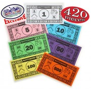 Matty 27s Toy Stop Matty's Money 420 Piece Replacement Play Money Set (60 Pieces Each of $1's, $5's, $10's, $20's, $50's, $100's & $500's)