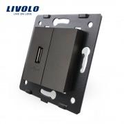 Priza USB Livolo, negru