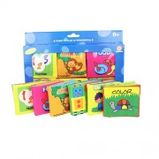 KIDDOSLAND Baby's First Non-Toxic Soft Cloth Book Set- Squeak, Rattle, Crinkle - by KiddosLand