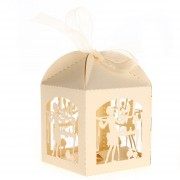 12 Cajas Cajitas Papel Amarillo Claro Para Bombones Caramelo De Boda Ceremonia Xmas Christmas La Navidad