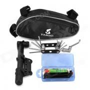 YANHO multifuncional herramientas de combinacion Kit w / bomba de aire para el ciclismo al aire libre - negro