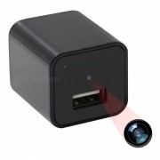 1080P USB Wall Charger Mini camara con memoria de 16 GB - Negro (enchufe de la UE)