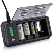 EBL LCD Smart Battery Charger for C/D/9V/AA/AAA Rechargeable Battery Ni-MH Ni-CD with 2 USB Port for Phones & Discharge Function (Batteries Not Included)