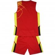 Баскетболен екип потник с шорти - червено с жълто