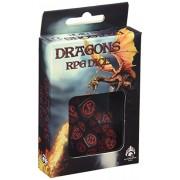 Q-Workshop DRA02 - Dadi, motivo: dragoni, 7 pz, colore: Rosso/Nero