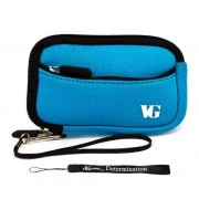 Baby Blue Trim Slim Protective Soft Neoprene Cover Carrying Case Sleeve With Extra Pocket For Nikon Coolpix S2500 S3100 S4100 S5100 S6100 S6200 S8100 S8200 Point And Shoot Digital Camera + Includes E Big Value Determination Hand Strap Key Chain