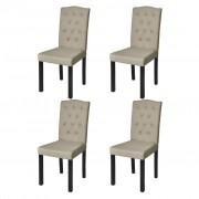 vidaXL Комплект от 4 трапезни стола в антикварен стил, бежови