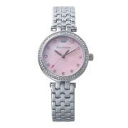 【52%OFF】CALI ラウンド ビジュー ステンレスベルト ウォッチ シルバー ファッション > 腕時計~~レディース 腕時計