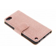 Roze glanzende ribbelige booktype hoes voor de iPod Touch 5g / 6