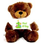 Brown 2 feet Big Teddy Bear wearing a First Happy Birthday T-shirt
