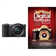 Sony A5000 con objetivo 16-50mm y libro de fotografía digital (inglés)