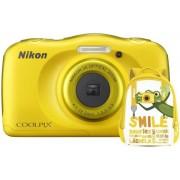 Aparat Foto Digital NIKON Coolpix W100, 13.2MP, Zoom Optic 3x, Wi-Fi (Galben) + Rucsac