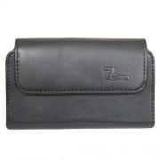 Jo Jo A1 Horizontal Leather Carry Case Mobile Pouch Premium Cover Holder For Karbonn Titanium MachFive Black