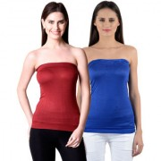 NumBrave Womens Maroon Blue Tube Top (Combo of 2)