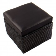Kicsi bőrhatású ülőkés tároló, fekete