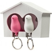 Qualy Duo Sparrow Key Rings - Pink and White [Toy] (japan import)