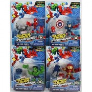 Set of 4: Marvel Super Hero Mashers Micro Action Figures - Captain America Spider-Man Hulk Hulk Buster