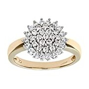 Citerna 9 ct Yellow Gold Cubic Zirconia Cluster Ring - Size Q