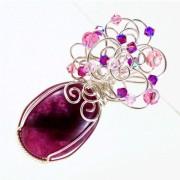 Egyedi rózsaszín szivárvány holdkő medál #6